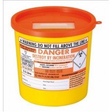 Sharps container disposal rigid type to BS7320/UN approved polypropylene 2.5 litre orange lid