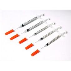 Syringe insulin with needle attached 1ml syringe with grey 27 gauge x 0.5 inch needle
