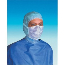 Mask face surgical standard Pleated 4 ties with noseband blue EN14683 type II