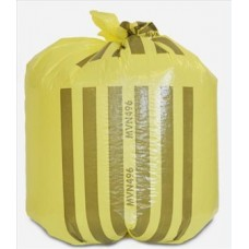 Bag offensive waste polythene yellow with black stripe star sealed RPC BPI REFUSE 360 x 711 x 990mm 21 microns medium duty gusseted printed capacity 70 litres